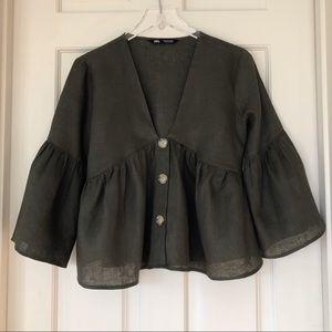 Zara | Linen Dark Olive Bell Sleeve Top
